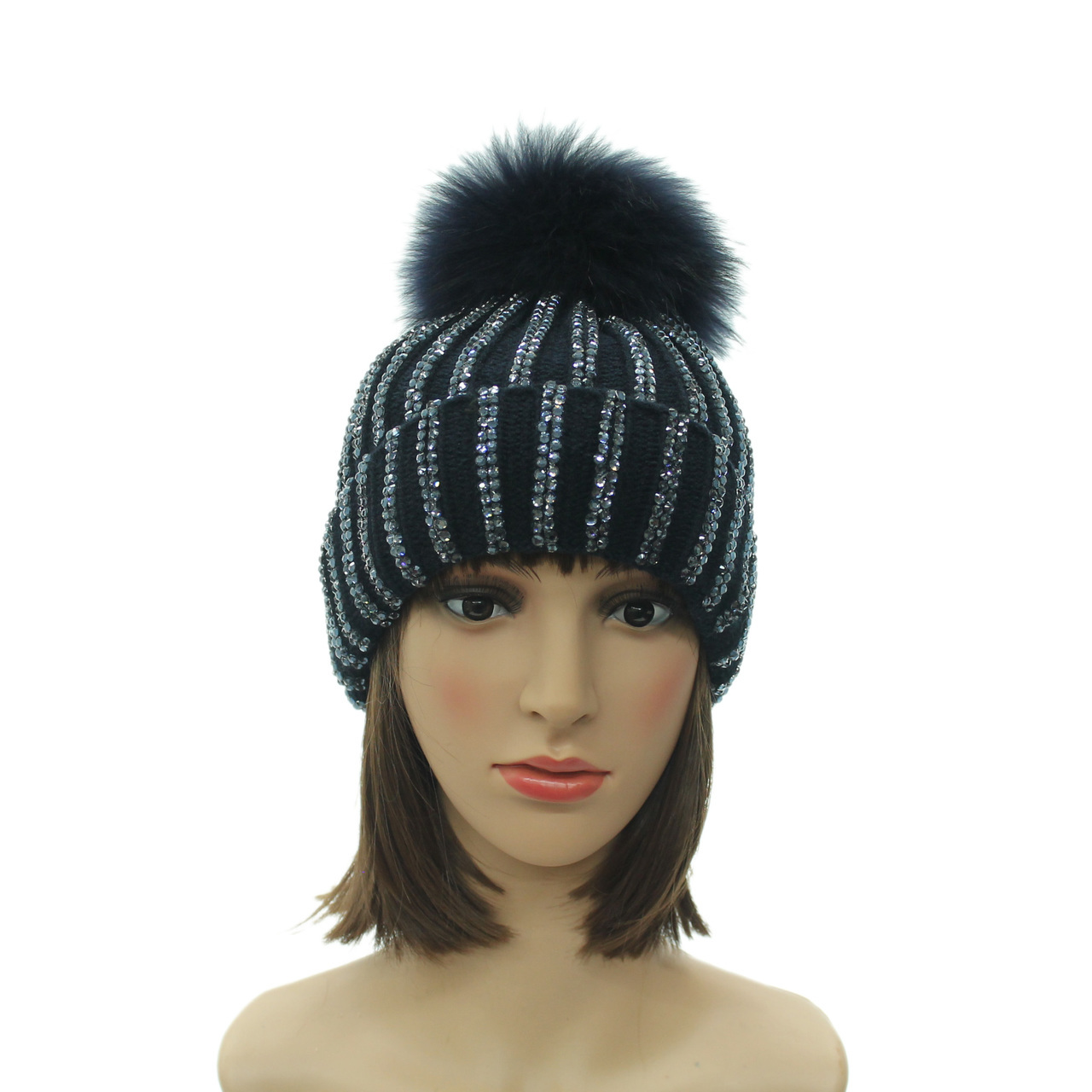 1ef19df04fd LADIES DETACHABLE FUR POMPOM DIAMANTE BEADS WINTER BEANIE HAT