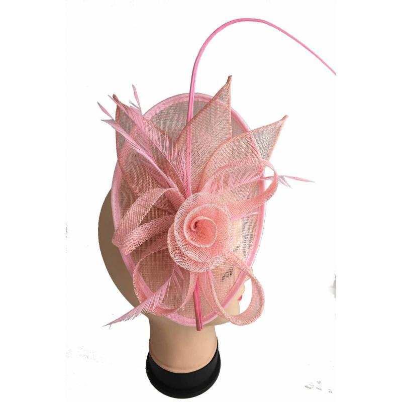Ladies Day Race Occasion Royal Ascot Coral Fascinator Wedding Hat Headband Clip
