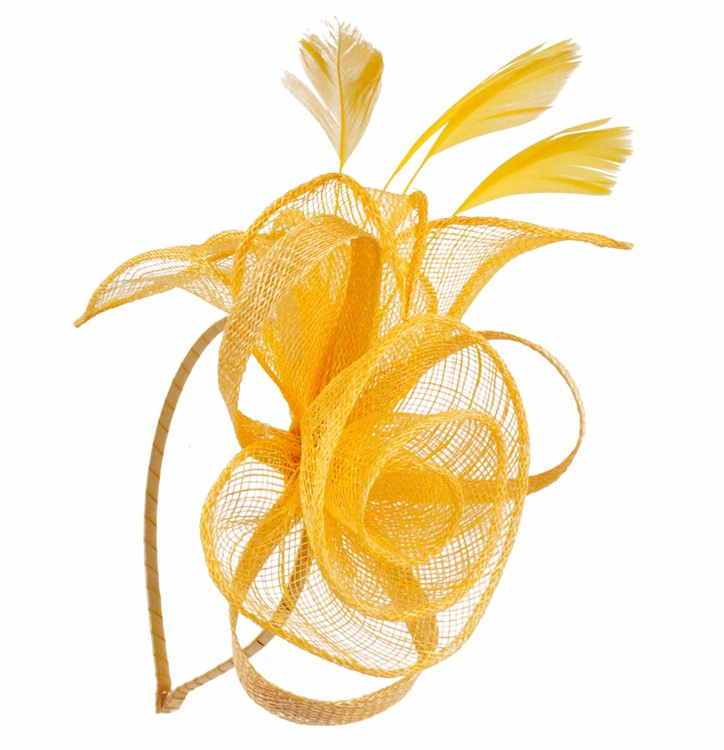 Floral Sinamay Fascinator with Feathers on Satin Covered Alice Band ... 2d0d5504bdb