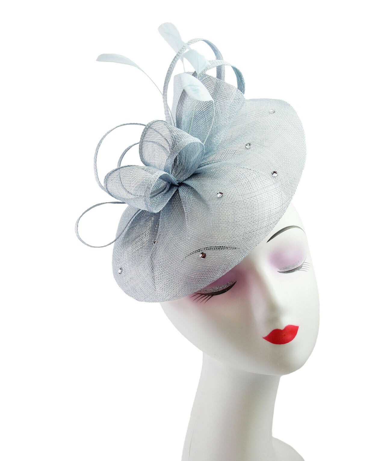 cd6f9be0a104b Ladies Sinamay Flower Feather Fascinator With a Detachable Headband ...